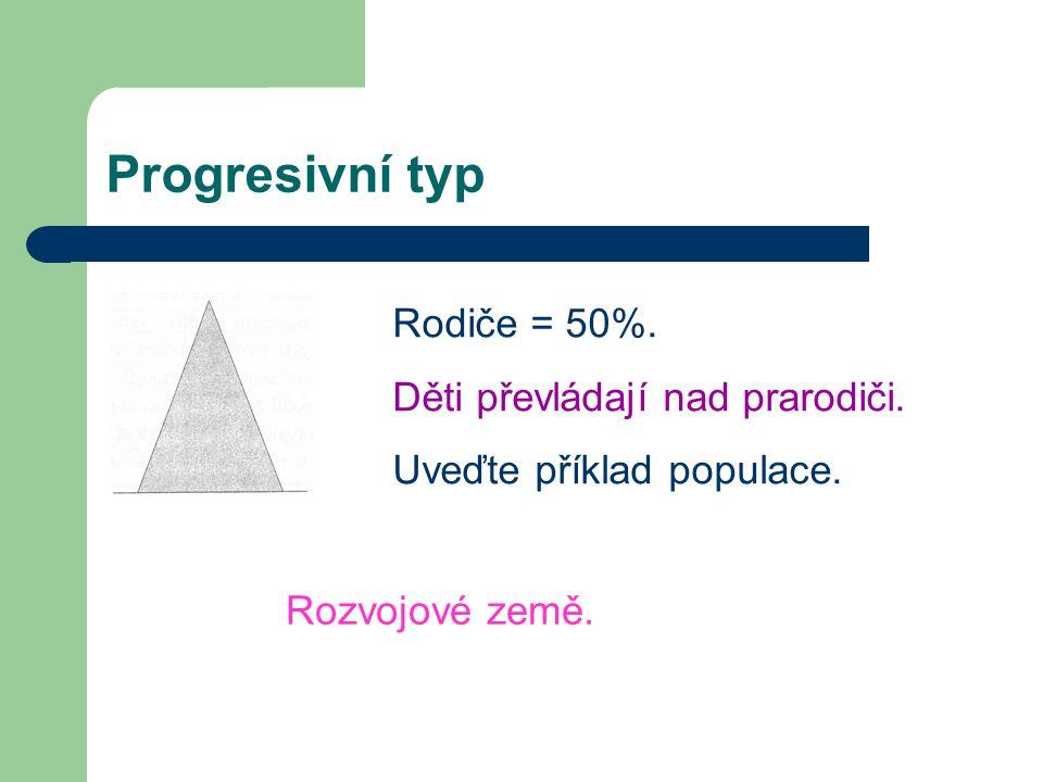 Progresivní typ Rodiče = 50%. Děti převládají nad prarodiči. Uveďte příklad populace. Rozvojové země.