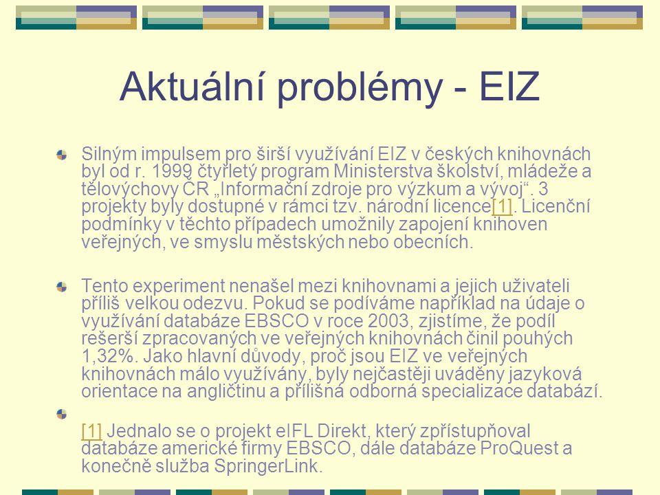 Aktuální problémy - EIZ Silným impulsem pro širší využívání EIZ v českých knihovnách byl od r. 1999 čtyřletý program Ministerstva školství, mládeže a