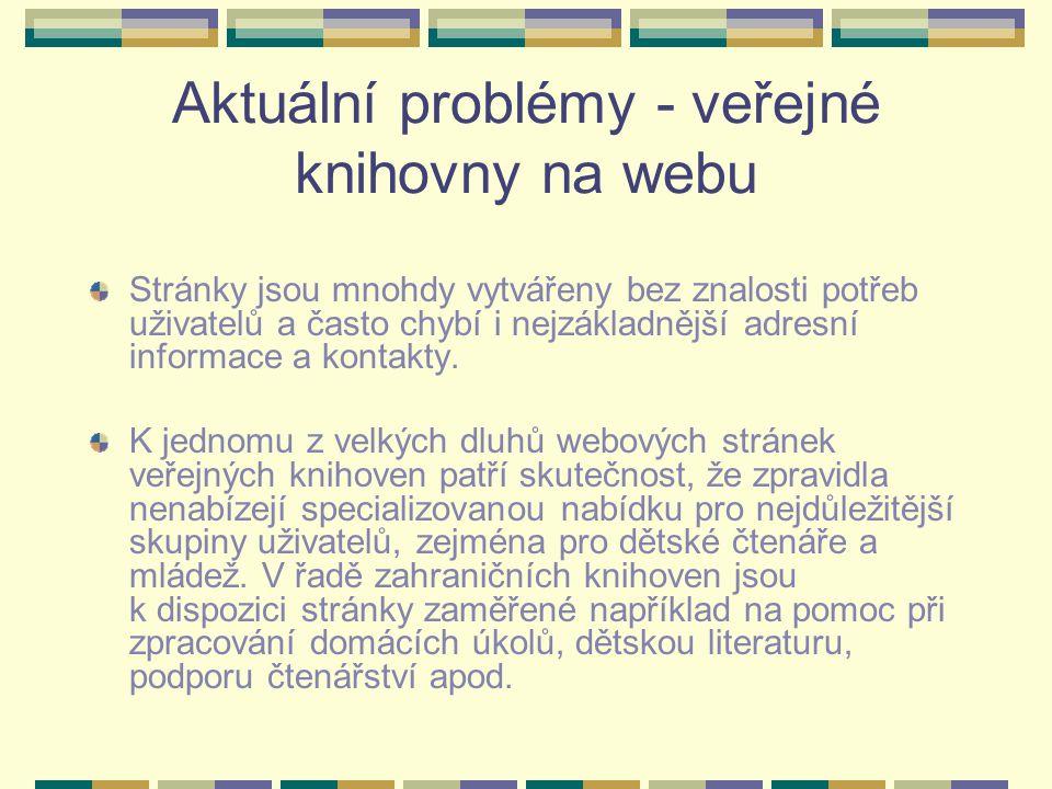 Aktuální problémy - veřejné knihovny na webu Stránky jsou mnohdy vytvářeny bez znalosti potřeb uživatelů a často chybí i nejzákladnější adresní inform