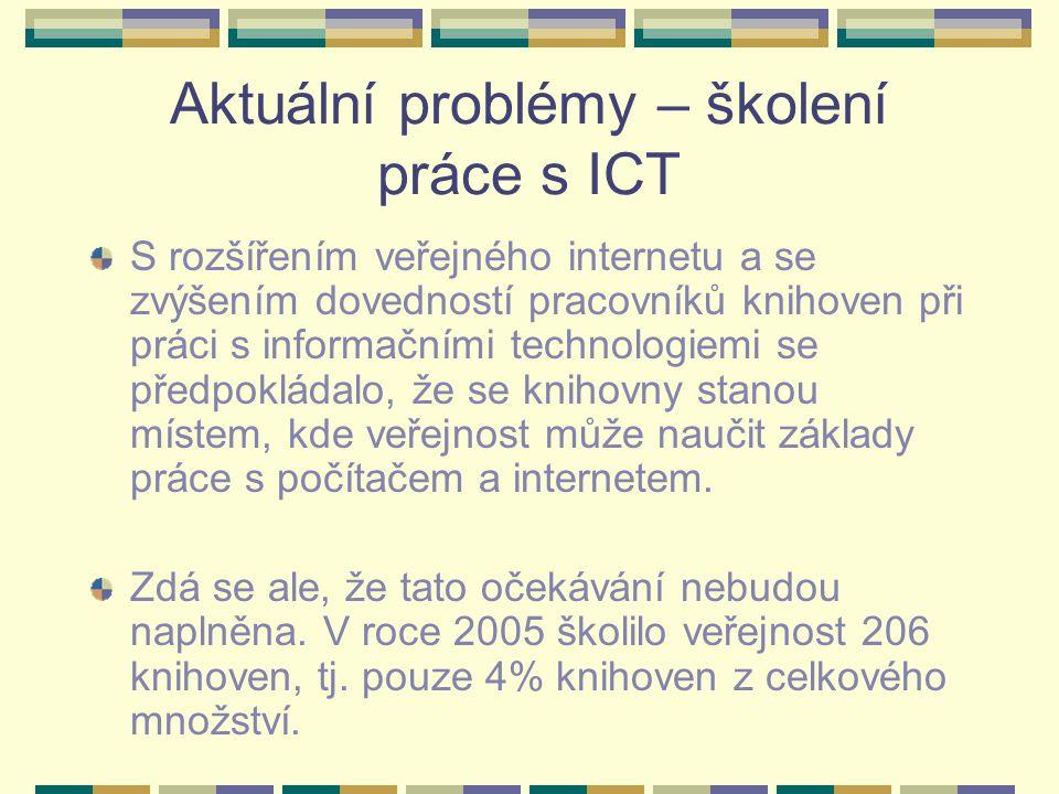 Aktuální problémy – školení práce s ICT S rozšířením veřejného internetu a se zvýšením dovedností pracovníků knihoven při práci s informačními technologiemi se předpokládalo, že se knihovny stanou místem, kde veřejnost může naučit základy práce s počítačem a internetem.