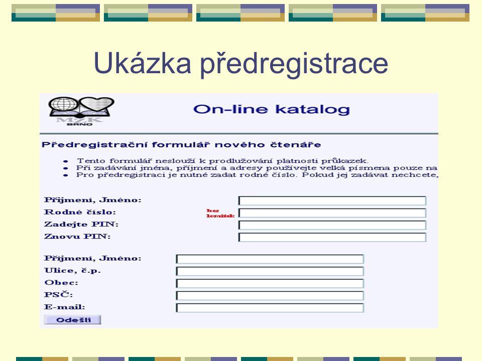 Ukázka předregistrace
