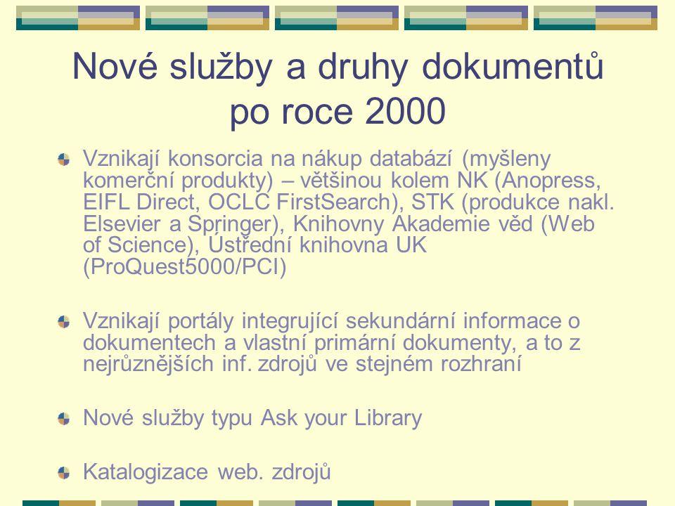 Nové služby a druhy dokumentů po roce 2000 Vznikají konsorcia na nákup databází (myšleny komerční produkty) – většinou kolem NK (Anopress, EIFL Direct, OCLC FirstSearch), STK (produkce nakl.