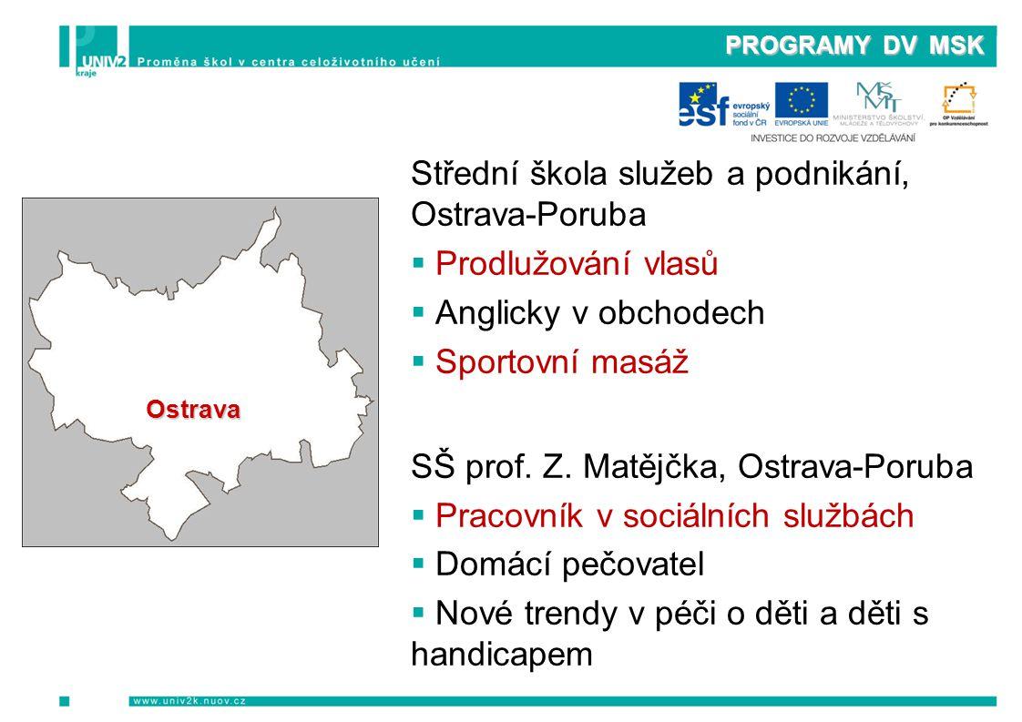 PROGRAMY DV MSK Střední škola služeb a podnikání, Ostrava-Poruba  Prodlužování vlasů  Anglicky v obchodech  Sportovní masáž SŠ prof.