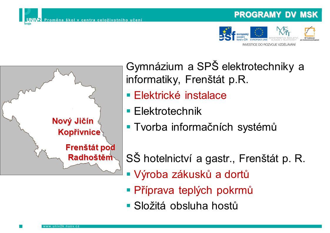 PROGRAMY DV MSK Gymnázium a SPŠ elektrotechniky a informatiky, Frenštát p.R.