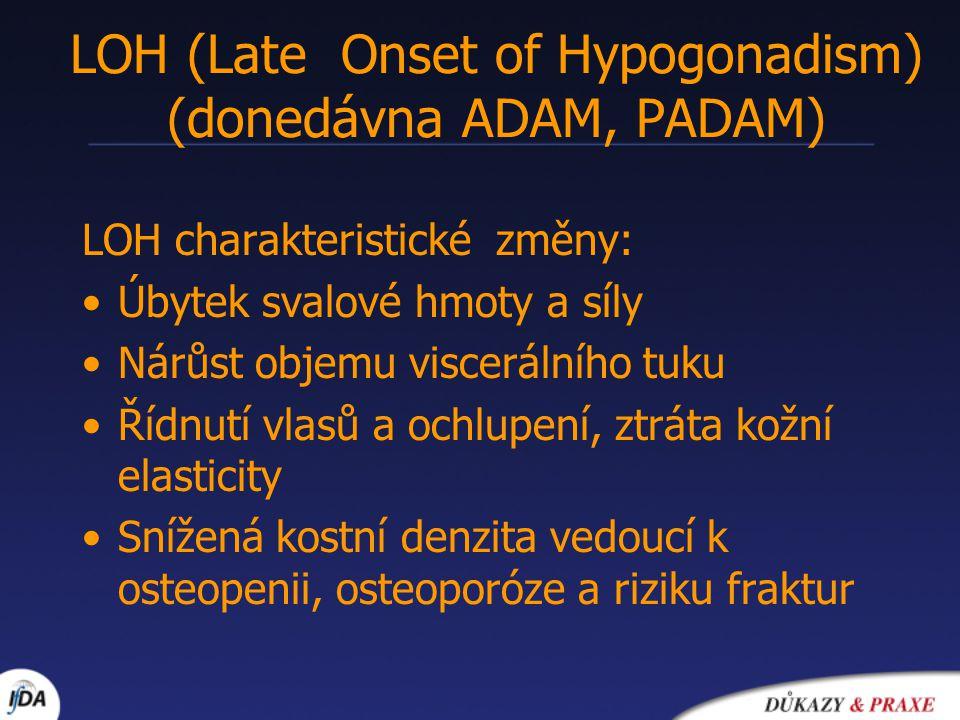LOH (Late Onset of Hypogonadism) (donedávna ADAM, PADAM) LOH charakteristické změny: Úbytek svalové hmoty a síly Nárůst objemu viscerálního tuku Řídnu