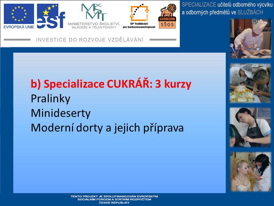 b) Specializace CUKRÁŘ: 3 kurzy Pralinky Minideserty Moderní dorty a jejich příprava