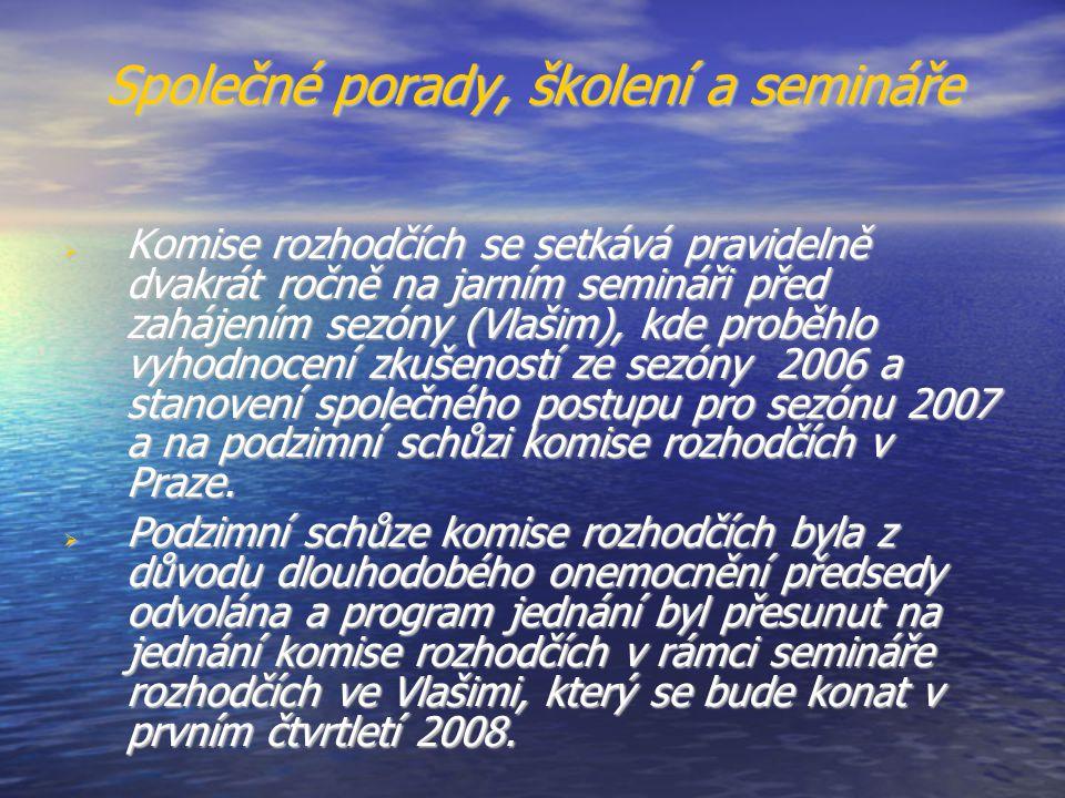 Společné porady, školení a semináře  Komise rozhodčích se setkává pravidelně dvakrát ročně na jarním semináři před zahájením sezóny (Vlašim), kde proběhlo vyhodnocení zkušeností ze sezóny 2006 a stanovení společného postupu pro sezónu 2007 a na podzimní schůzi komise rozhodčích v Praze.