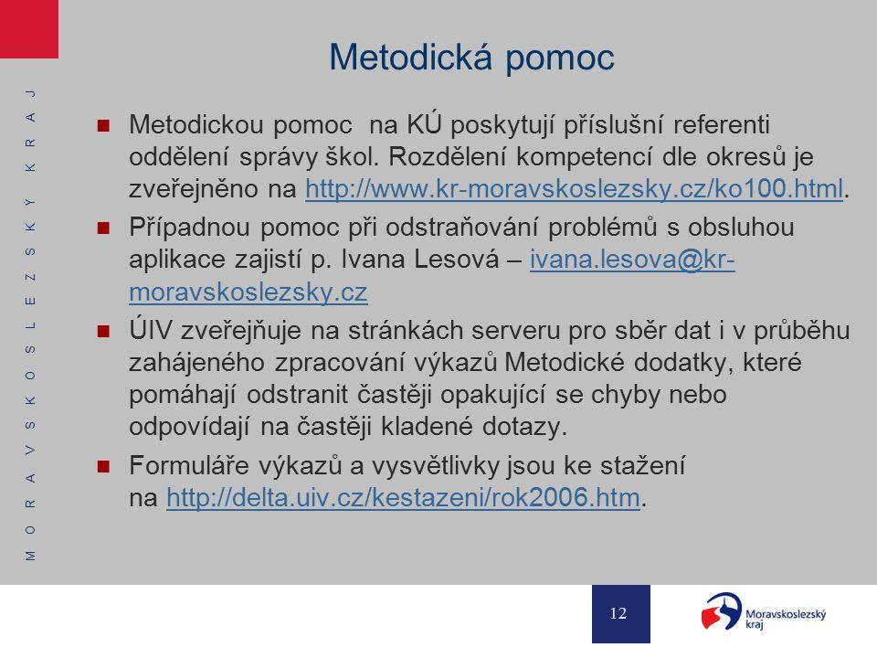 M O R A V S K O S L E Z S K Ý K R A J 12 Metodická pomoc Metodickou pomoc na KÚ poskytují příslušní referenti oddělení správy škol. Rozdělení kompeten