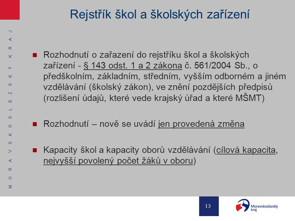 M O R A V S K O S L E Z S K Ý K R A J 13 Rejstřík škol a školských zařízení Rozhodnutí o zařazení do rejstříku škol a školských zařízení - § 143 odst.