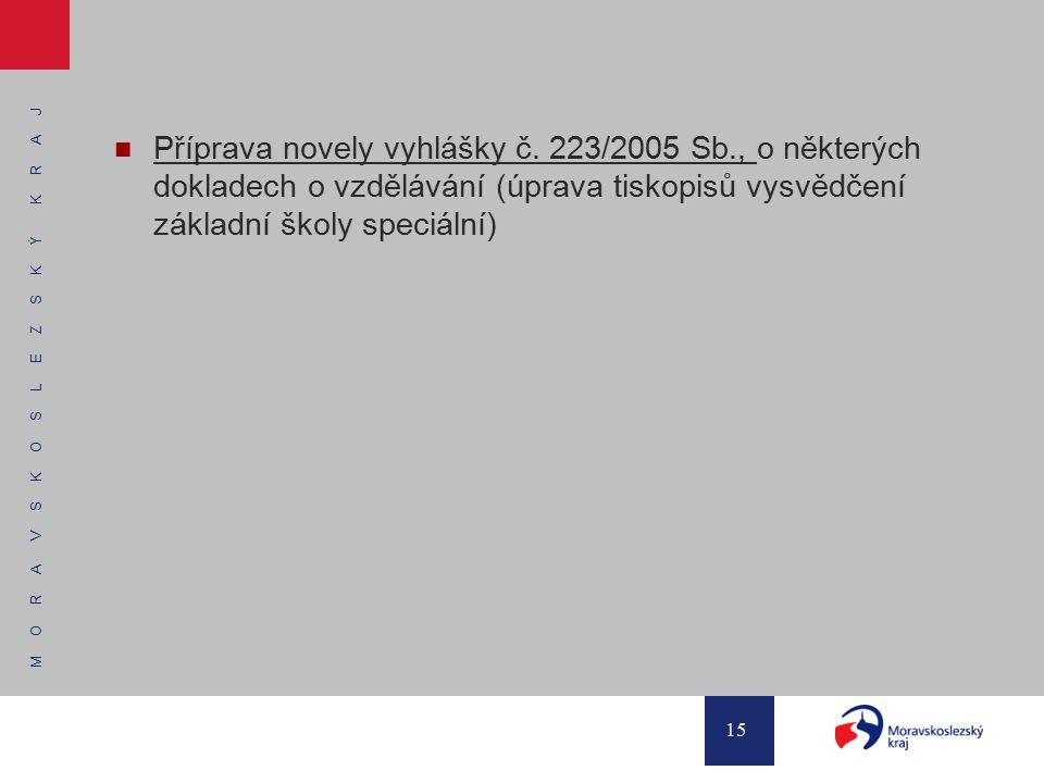 M O R A V S K O S L E Z S K Ý K R A J 15 Příprava novely vyhlášky č. 223/2005 Sb., o některých dokladech o vzdělávání (úprava tiskopisů vysvědčení zák