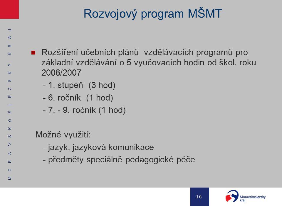 M O R A V S K O S L E Z S K Ý K R A J 16 Rozvojový program MŠMT Rozšíření učebních plánů vzdělávacích programů pro základní vzdělávání o 5 vyučovacích