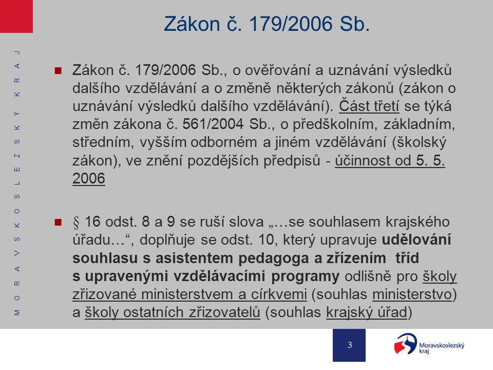 M O R A V S K O S L E Z S K Ý K R A J 3 Zákon č. 179/2006 Sb. Zákon č. 179/2006 Sb., o ověřování a uznávání výsledků dalšího vzdělávání a o změně někt