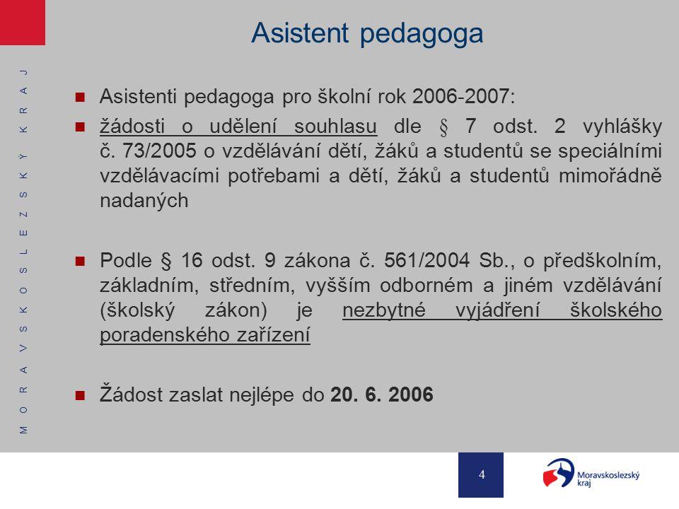 M O R A V S K O S L E Z S K Ý K R A J 4 Asistent pedagoga Asistenti pedagoga pro školní rok 2006-2007: žádosti o udělení souhlasu dle § 7 odst. 2 vyhl