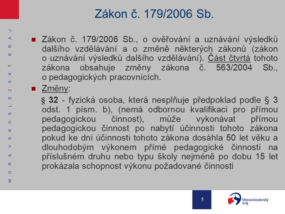 M O R A V S K O S L E Z S K Ý K R A J 5 Zákon č. 179/2006 Sb. Zákon č. 179/2006 Sb., o ověřování a uznávání výsledků dalšího vzdělávání a o změně někt