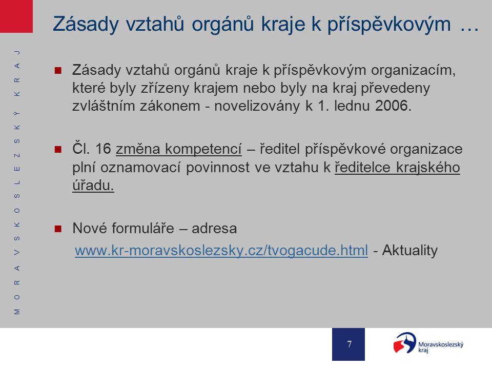 M O R A V S K O S L E Z S K Ý K R A J 7 Zásady vztahů orgánů kraje k příspěvkovým … Zásady vztahů orgánů kraje k příspěvkovým organizacím, které byly