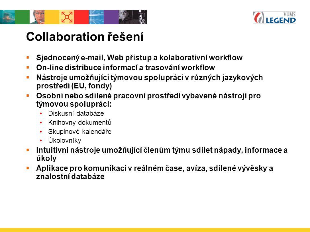 Collaboration řešení  Sjednocený e-mail, Web přístup a kolaborativní workflow  On-line distribuce informací a trasování workflow  Nástroje umožňující týmovou spolupráci v různých jazykových prostředí (EU, fondy)  Osobní nebo sdílené pracovní prostředí vybavené nástroji pro týmovou spolupráci: Diskusní databáze Knihovny dokumentů Skupinové kalendáře Úkolovníky  Intuitivní nástroje umožňující členům týmu sdílet nápady, informace a úkoly  Aplikace pro komunikaci v reálném čase, avíza, sdílené vývěsky a znalostní databáze