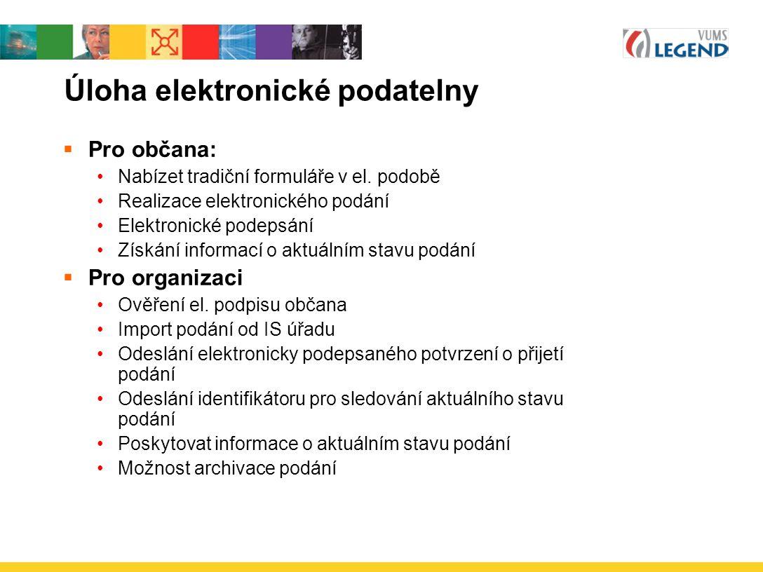 Úloha elektronické podatelny  Pro občana: Nabízet tradiční formuláře v el. podobě Realizace elektronického podání Elektronické podepsání Získání info