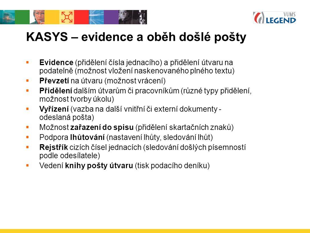 KASYS – evidence a oběh došlé pošty  Evidence (přidělení čísla jednacího) a přidělení útvaru na podatelně (možnost vložení naskenovaného plného textu