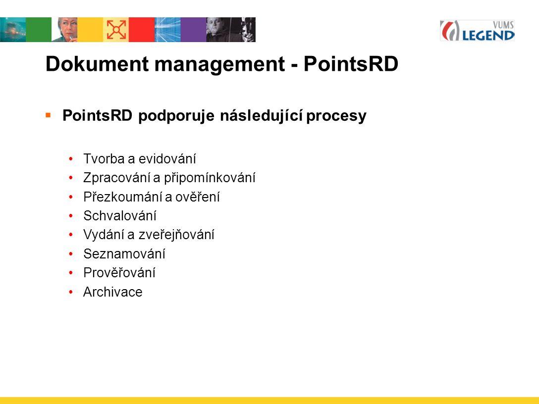 Dokument management - PointsRD  PointsRD podporuje následující procesy Tvorba a evidování Zpracování a připomínkování Přezkoumání a ověření Schvalování Vydání a zveřejňování Seznamování Prověřování Archivace