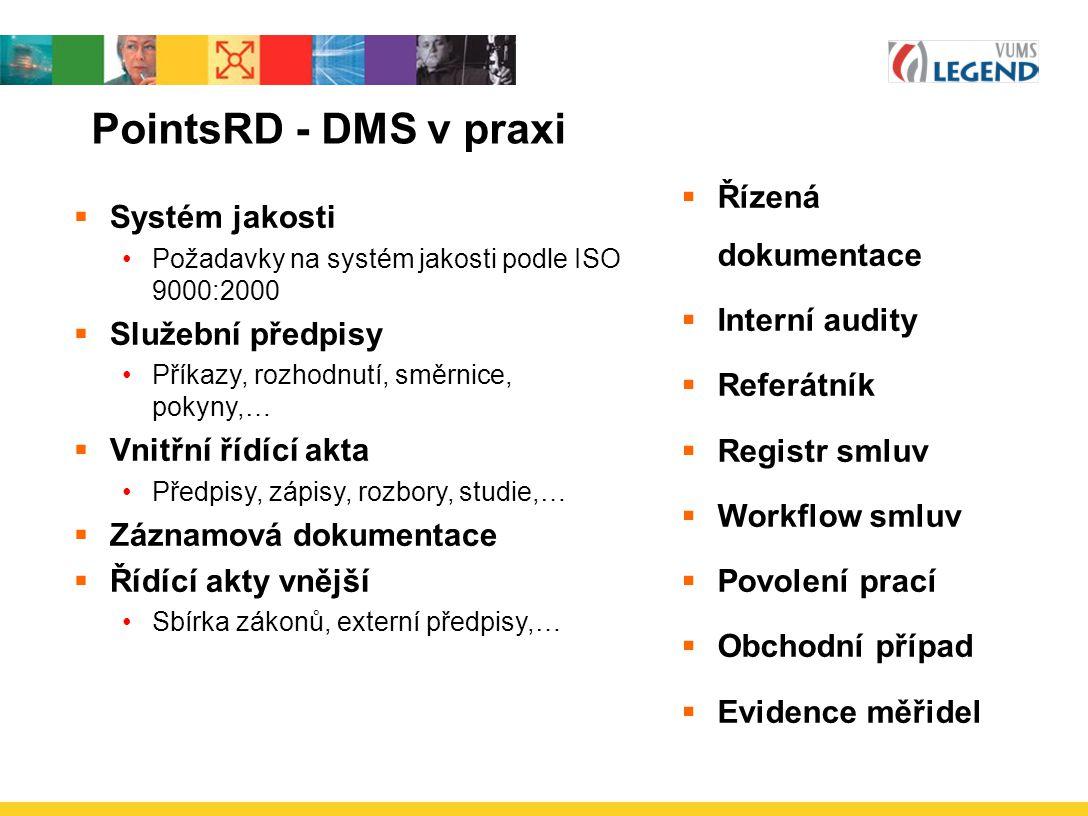 PointsRD - DMS v praxi  Systém jakosti Požadavky na systém jakosti podle ISO 9000:2000  Služební předpisy Příkazy, rozhodnutí, směrnice, pokyny,… 
