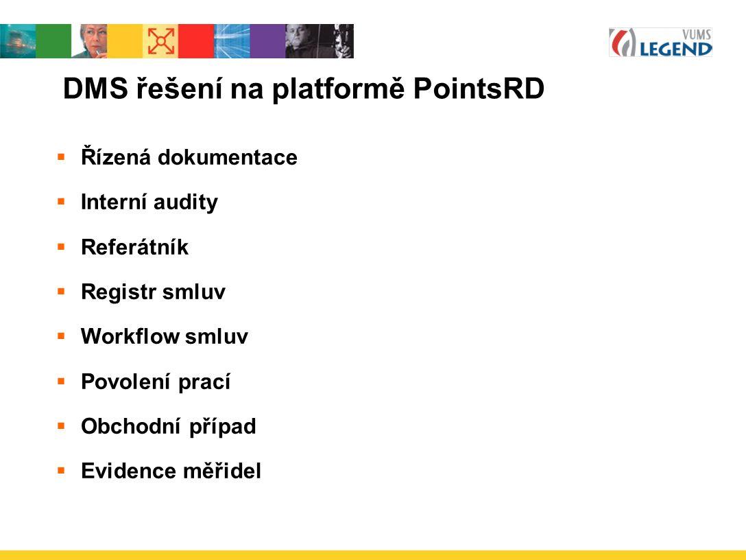 DMS řešení na platformě PointsRD  Řízená dokumentace  Interní audity  Referátník  Registr smluv  Workflow smluv  Povolení prací  Obchodní případ  Evidence měřidel