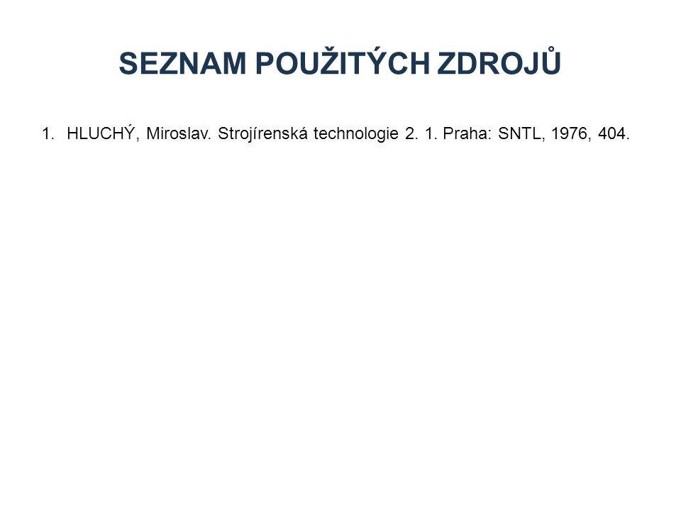 1.HLUCHÝ, Miroslav. Strojírenská technologie 2. 1. Praha: SNTL, 1976, 404. SEZNAM POUŽITÝCH ZDROJŮ