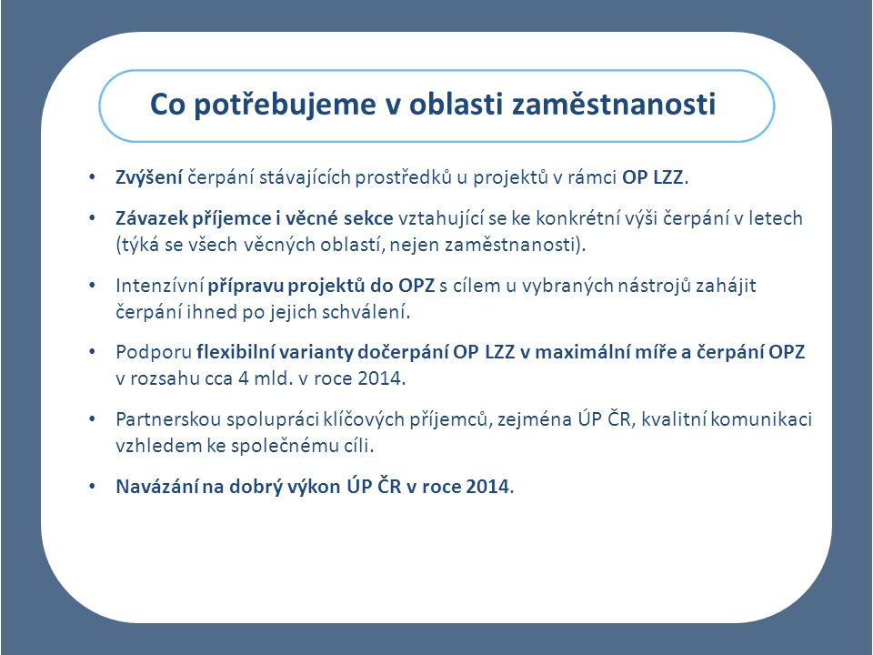 Co potřebujeme v oblasti zaměstnanosti Zvýšení čerpání stávajících prostředků u projektů v rámci OP LZZ.