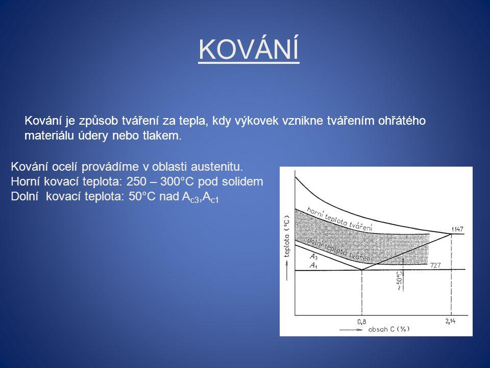 KOVÁNÍ Kování je způsob tváření za tepla, kdy výkovek vznikne tvářením ohřátého materiálu údery nebo tlakem.