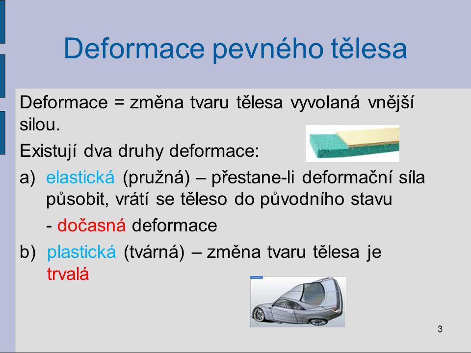 Deformace pevného tělesa Deformační síly mohou působit různým směrem – podle toho nastává změna tvaru tělesa: 1)deformace tahem – vzniká působením dvou stejně velkých sil směrem ven z tělesa – dochází k prodloužení – např.