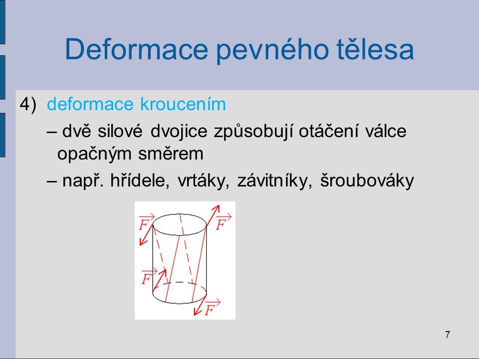 Deformace pevného tělesa 4)deformace kroucením – dvě silové dvojice způsobují otáčení válce opačným směrem – např. hřídele, vrtáky, závitníky, šroubov