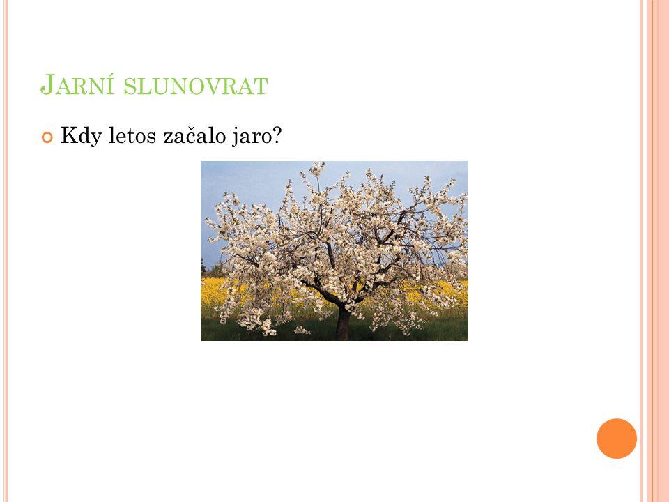 J ARNÍ SLUNOVRAT Kdy letos začalo jaro?