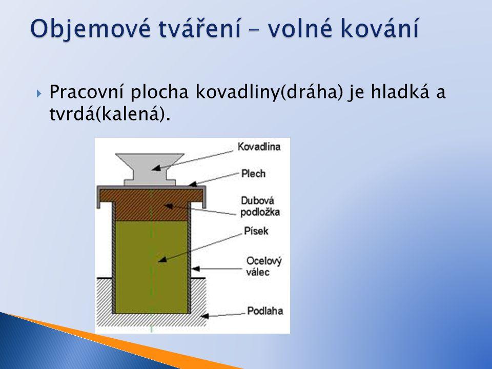  Pracovní plocha kovadliny(dráha) je hladká a tvrdá(kalená).