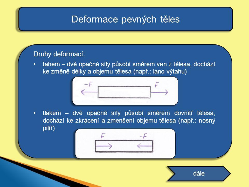 Deformace pevných těles Druhy deformací: tahem – dvě opačné síly působí směrem ven z tělesa, dochází ke změně délky a objemu tělesa (např.: lano výtah