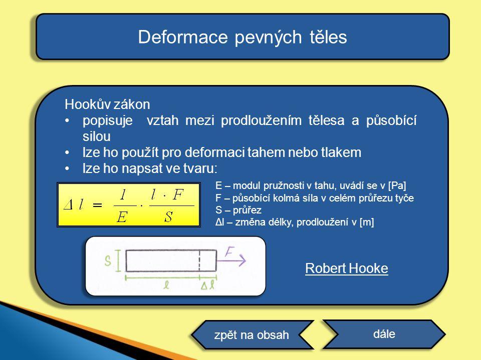 Deformace pevných těles Hookův zákon popisuje vztah mezi prodloužením tělesa a působící silou lze ho použít pro deformaci tahem nebo tlakem lze ho nap