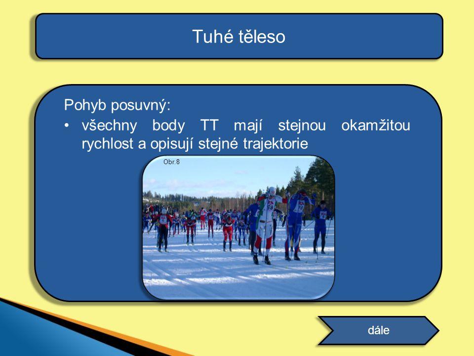 Tuhé těleso Pohyb posuvný: všechny body TT mají stejnou okamžitou rychlost a opisují stejné trajektorie dále Obr.8