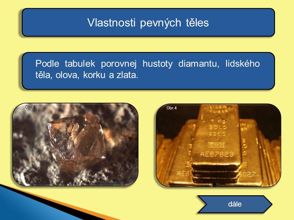 Vlastnosti pevných těles Podle tabulek porovnej hustoty diamantu, lidského těla, olova, korku a zlata. dále Obr.3 Obr.4