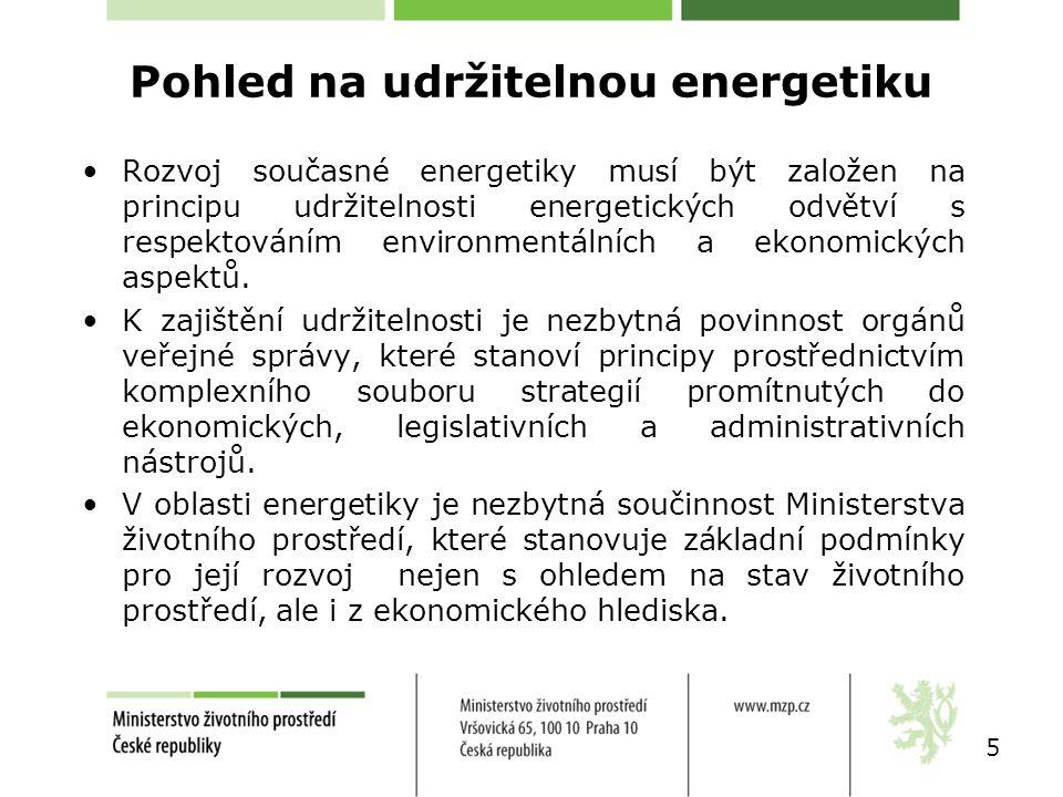 Pohled na udržitelnou energetiku Rozvoj současné energetiky musí být založen na principu udržitelnosti energetických odvětví s respektováním environme
