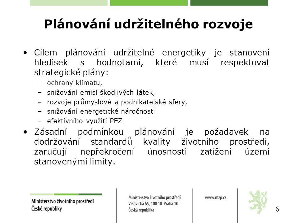 Plánování udržitelného rozvoje Cílem plánování udržitelné energetiky je stanovení hledisek s hodnotami, které musí respektovat strategické plány: –och