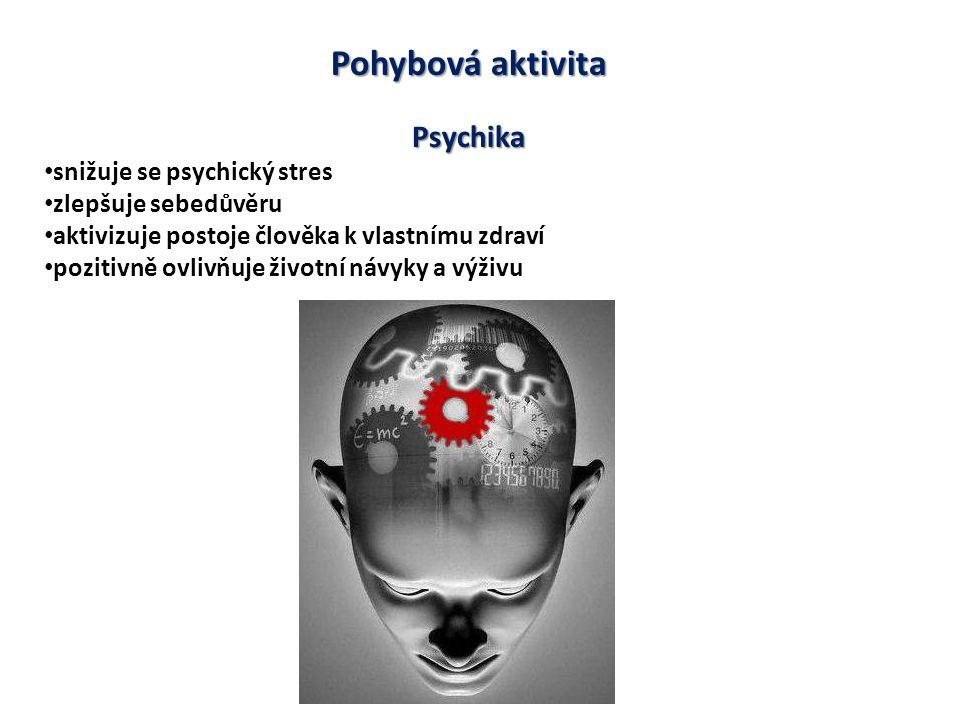 Pohybová aktivita Psychika snižuje se psychický stres zlepšuje sebedůvěru aktivizuje postoje člověka k vlastnímu zdraví pozitivně ovlivňuje životní návyky a výživu