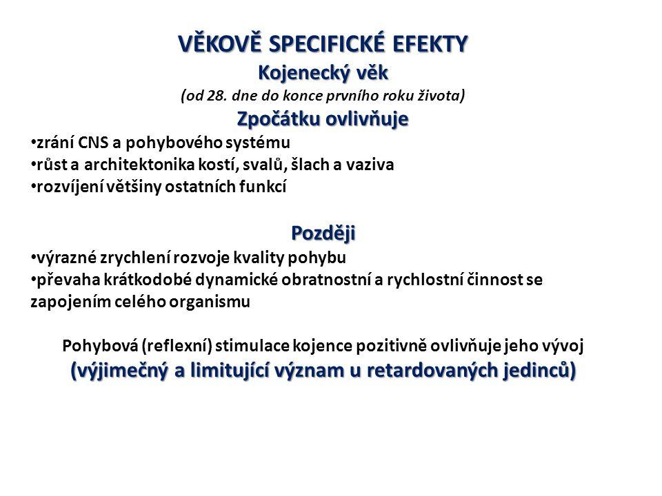 VĚKOVĚ SPECIFICKÉ EFEKTY Kojenecký věk (od 28. dne do konce prvního roku života) Zpočátkuovlivňuje Zpočátku ovlivňuje zrání CNS a pohybového systému r