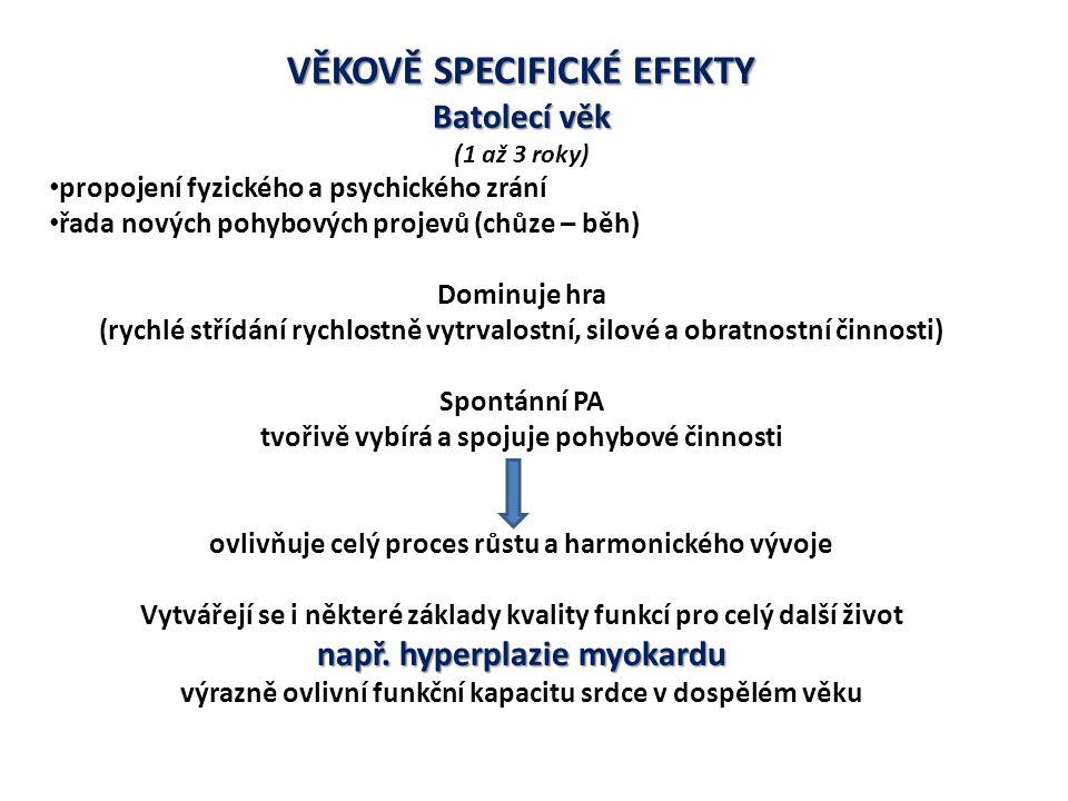 VĚKOVĚ SPECIFICKÉ EFEKTY Batolecí věk (1 až 3 roky) propojení fyzického a psychického zrání řada nových pohybových projevů (chůze – běh) Dominuje hra (rychlé střídání rychlostně vytrvalostní, silové a obratnostní činnosti) Spontánní PA tvořivě vybírá a spojuje pohybové činnosti ovlivňuje celý proces růstu a harmonického vývoje Vytvářejí se i některé základy kvality funkcí pro celý další život např.