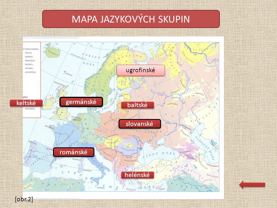 MAPA JAZYKOVÝCH SKUPIN keltské helénské baltské románské germánské slovanské ugrofinské [obr.2]