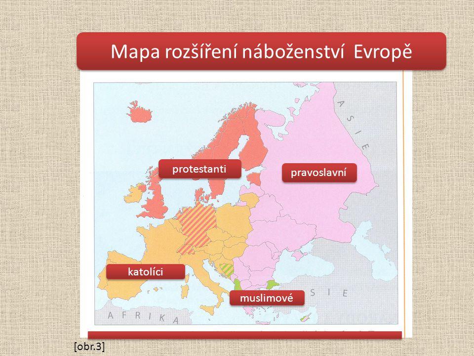 Mapa rozšíření náboženství Evropě pravoslavní protestanti katolíci muslimové [obr.3]