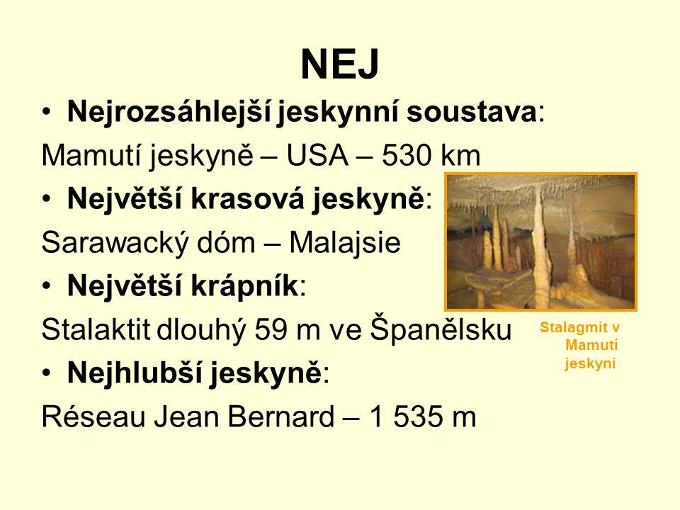 NEJ Nejrozsáhlejší jeskynní soustava: Mamutí jeskyně – USA – 530 km Největší krasová jeskyně: Sarawacký dóm – Malajsie Největší krápník: Stalaktit dlouhý 59 m ve Španělsku Nejhlubší jeskyně: Réseau Jean Bernard – 1 535 m Stalagmit v Mamutí jeskyni