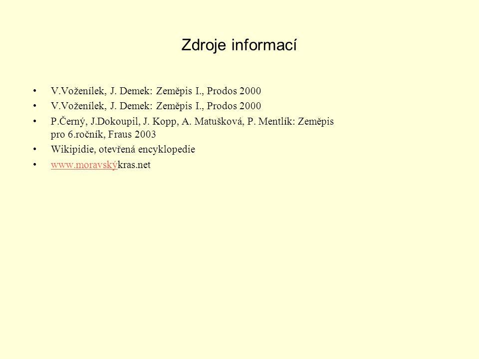 Zdroje informací V.Voženílek, J.Demek: Zeměpis I., Prodos 2000 P.Černý, J.Dokoupil, J.