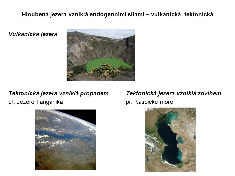 Hloubená jezera vzniklá endogenními silami – vulkanická, tektonická Vulkanická jezera Tektonická jezera vzniklá propademTektonická jezera vzniklá zdvi