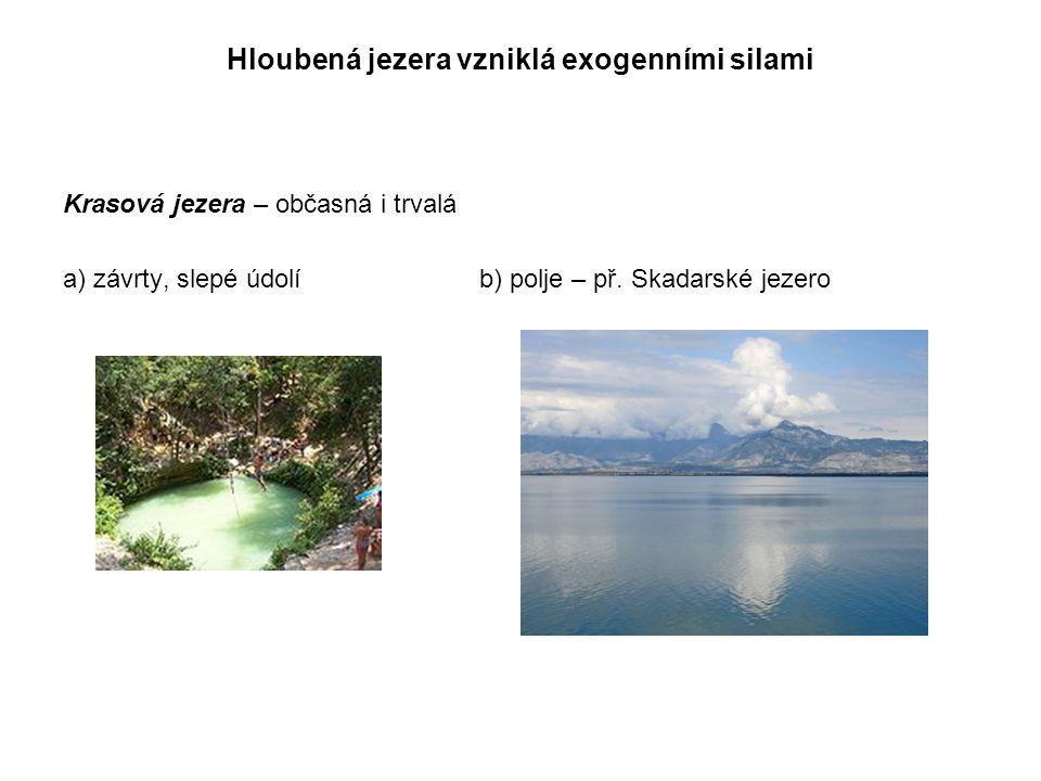 Hloubená jezera vzniklá exogenními silami Krasová jezera – občasná i trvalá a) závrty, slepé údolíb) polje – př. Skadarské jezero