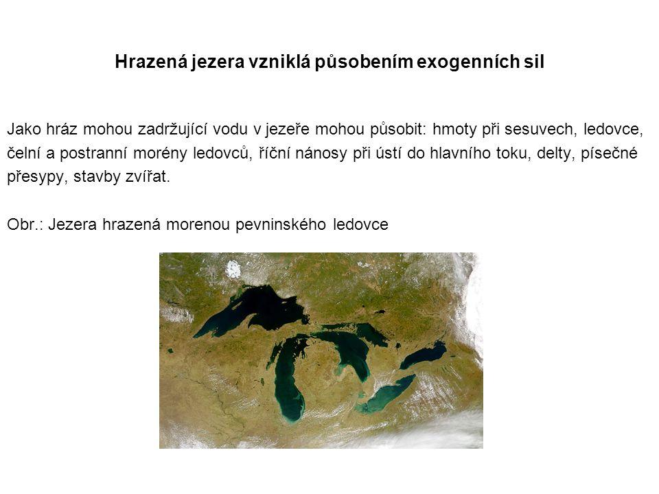 Hrazená jezera vzniklá působením exogenních sil Jako hráz mohou zadržující vodu v jezeře mohou působit: hmoty při sesuvech, ledovce, čelní a postranní