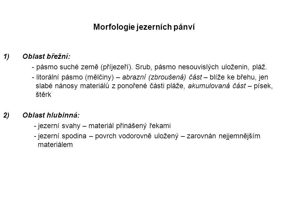 Morfologie jezerních pánví 1)Oblast břežní: - pásmo suché země (příjezeří).