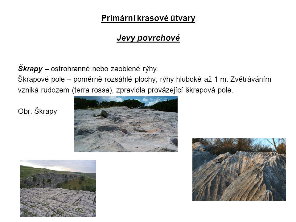 Primární krasové útvary Jevy povrchové Škrapy – ostrohranné nebo zaoblené rýhy.